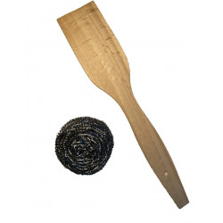 Деревянная Лопатка Из Бука+Металлическая Щетка Для Чистки Чугунной Посуды