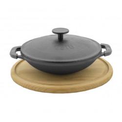Сковорода WOK БИОЛ порционная чугунная 18 см с крышкой с деревянной подставкой, эмаль черная (матовая)