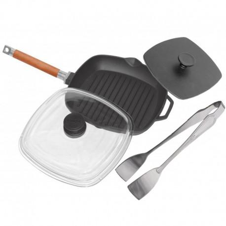Сковорода-гриль со стеклянной крышкой(280 мм) и прессом(225х225мм) 1028ПС