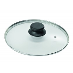 """Крышка стеклянная низкая с металлическим ободом для посуды """"Биол"""" (280мм)"""