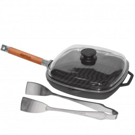 Сковорода-гриль со стеклянной крышкой (260 мм)